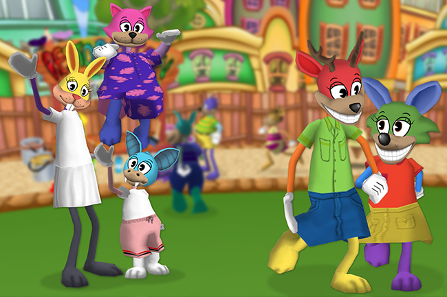 Several Toons in Toontown Central playground